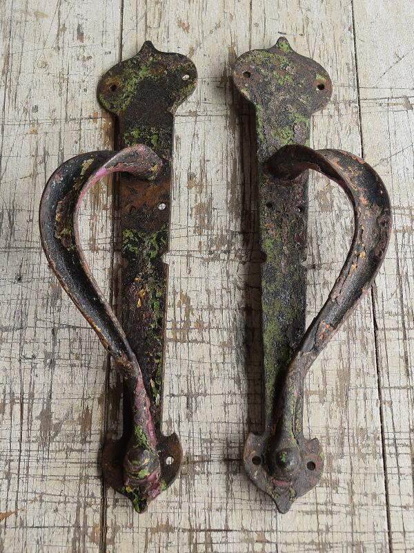 イギリス アンティーク 鉄製ハンドル 建具金物 取っ手×2 8803