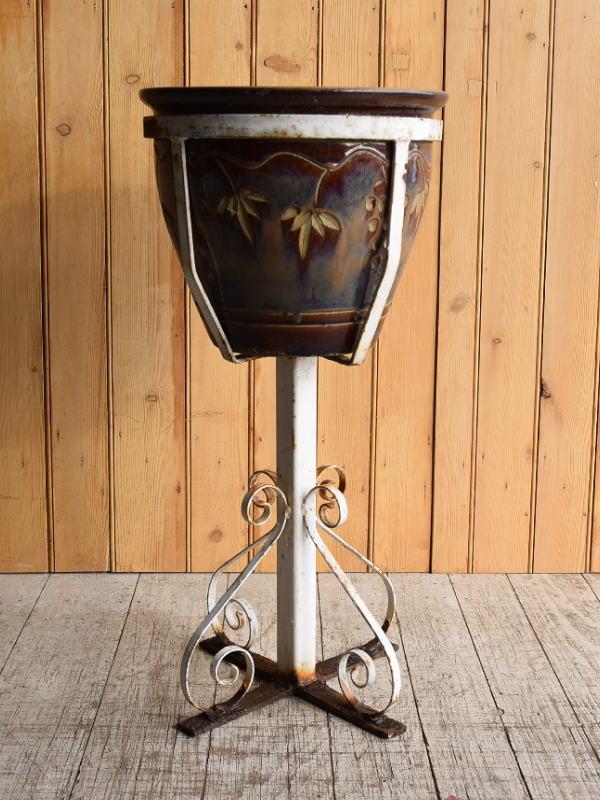 イギリス アンティーク アイアンプラントポットホルダー+植木鉢 8902