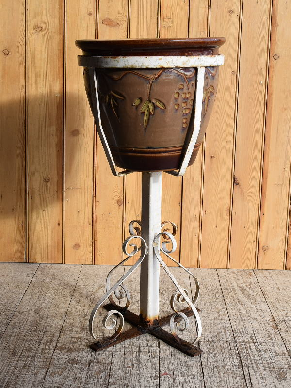 イギリス アンティーク アイアンプラントポットホルダー+植木鉢 8903
