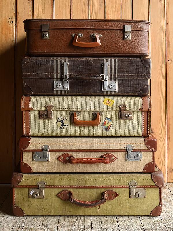 イギリス アンティーク スーツケース×5 トランク ディスプレイ 旅行鞄 8925