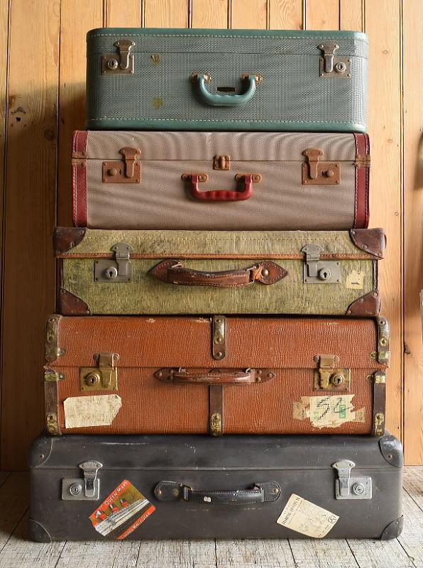 イギリス アンティーク スーツケース×5 トランク ディスプレイ 旅行鞄 8926