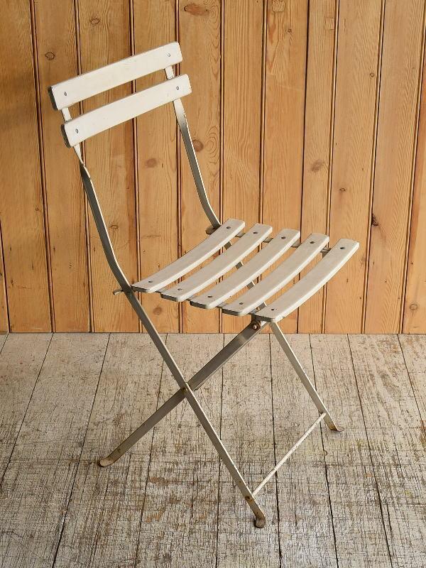 フレンチ アンティーク フォールディング ガーデンチェア 椅子 8932