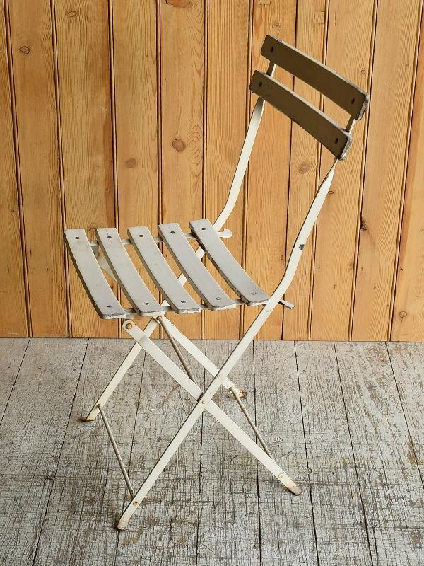 フレンチ アンティーク フォールディング ガーデンチェア 椅子 8933