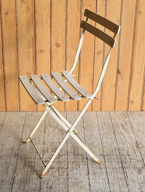 フレンチ アンティーク フォールディング ガーデンチェア 椅子 8934