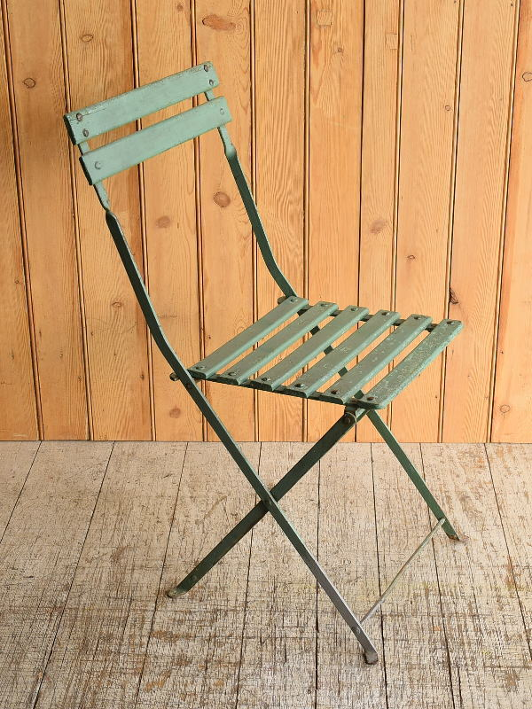 フレンチ アンティーク フォールディング ガーデンチェア 椅子 8935