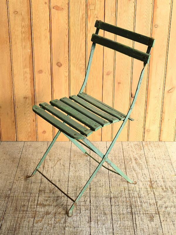 フレンチ アンティーク フォールディング ガーデンチェア 椅子 8936