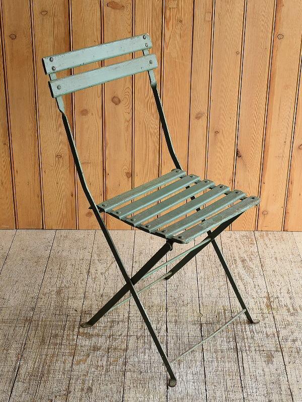 フレンチ アンティーク フォールディング ガーデンチェア 椅子 8938