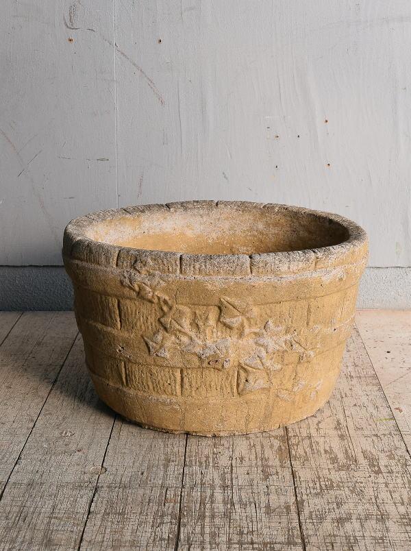 イギリス アンティーク セメント製 プランター 植木鉢 8989
