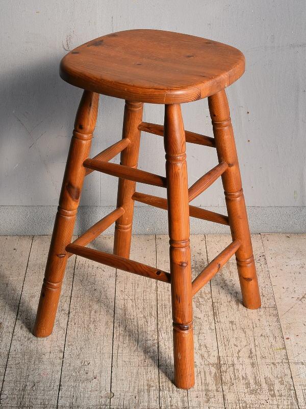 イギリス アンティーク家具 木製 ハイスツール  椅子 8996
