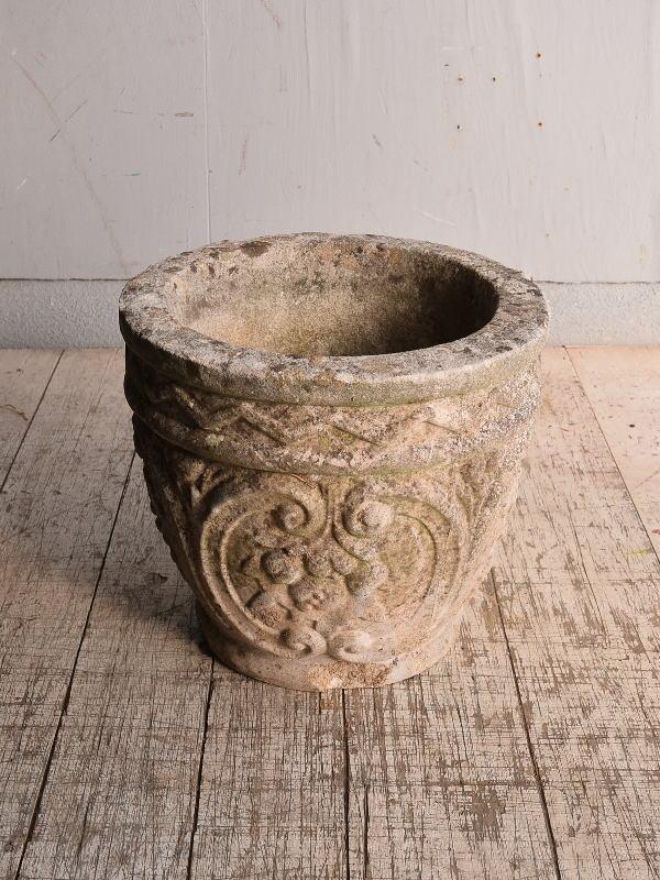 イギリス アンティーク セメント製 プランター 植木鉢 9009