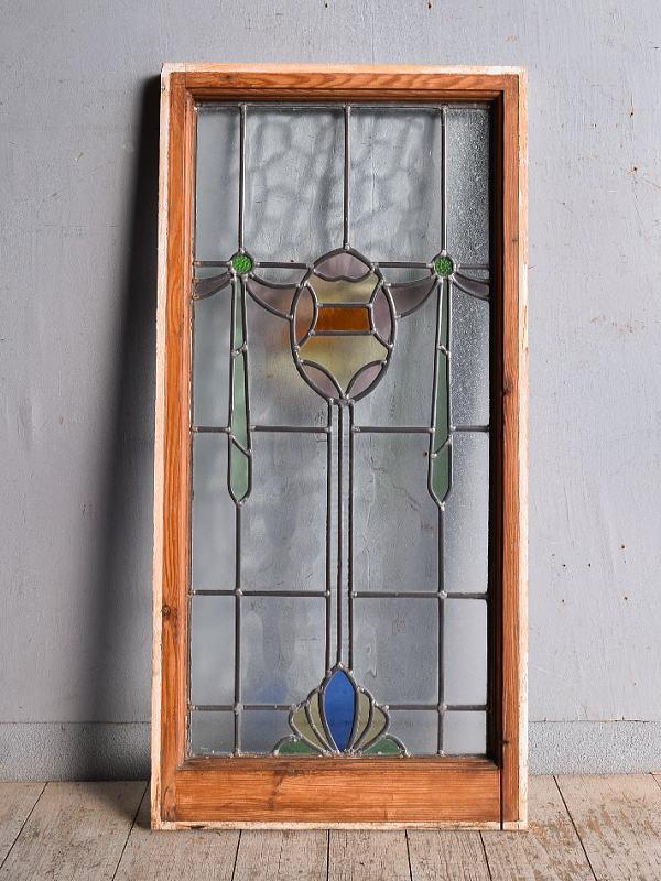 イギリス アンティーク ステンドグラス 幾何学 9029