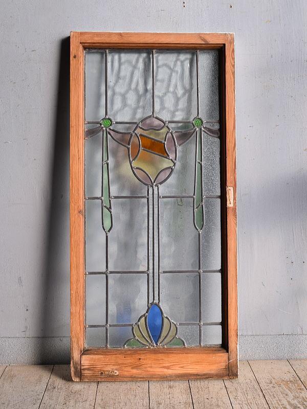 イギリス アンティーク ステンドグラス 幾何学 9030