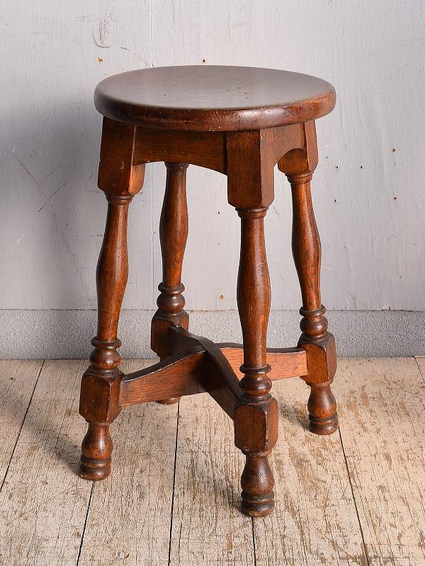 イギリス アンティーク家具 木製スツール  椅子 9049