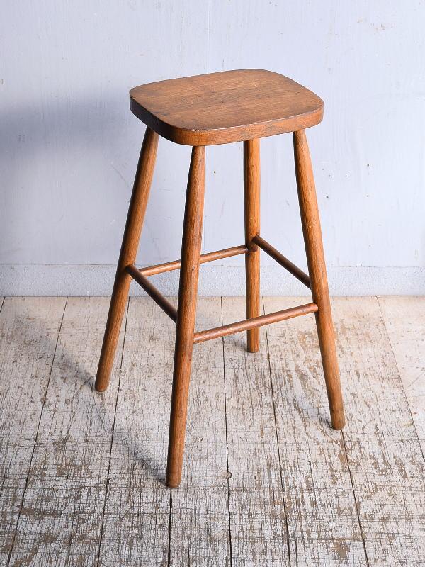 イギリス アンティーク家具 木製 ハイスツール  椅子 9071