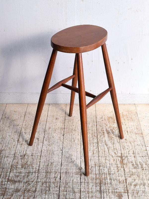イギリス アンティーク家具 木製 ハイスツール  椅子 9073