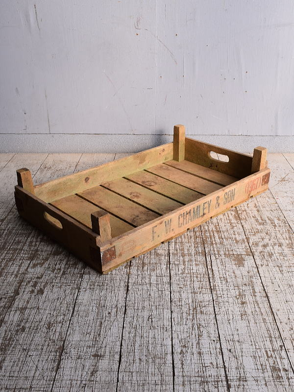 イギリス アンティーク ベジタブルキャリー 木箱 9157