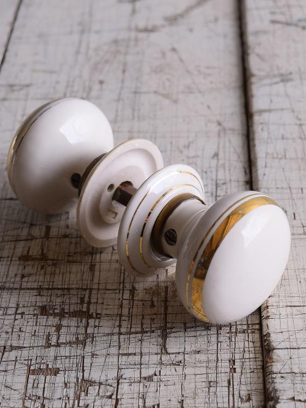 イギリス 陶器製 ドアノブ 建具金物 握り玉 9180