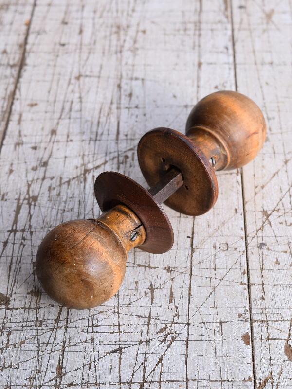 イギリス アンティーク 木製 ドアノブ 建具金物 握り玉 9206