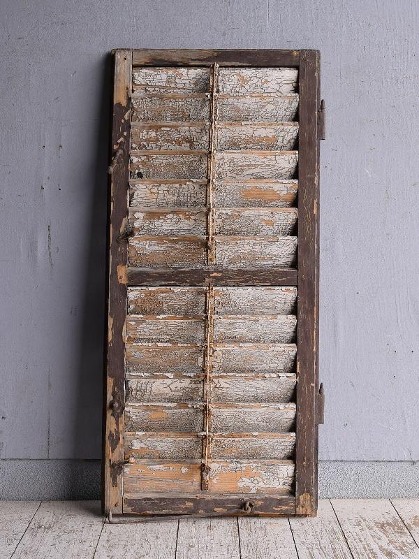 ルーマニア製 アンティーク 木製ルーバー雨戸 ディスプレイ 建具 9233