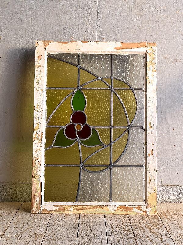 イギリス アンティーク ステンドグラス 幾何学 9257