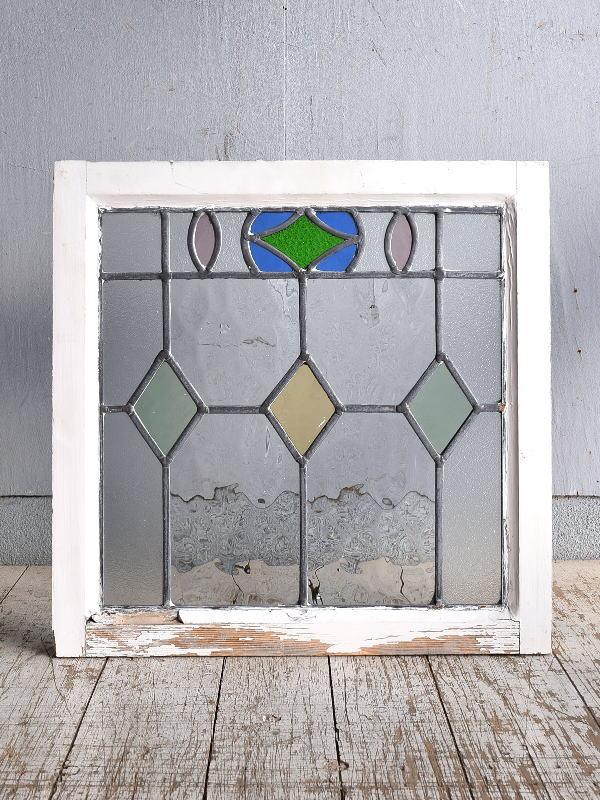 イギリス アンティーク ステンドグラス 幾何学 9264