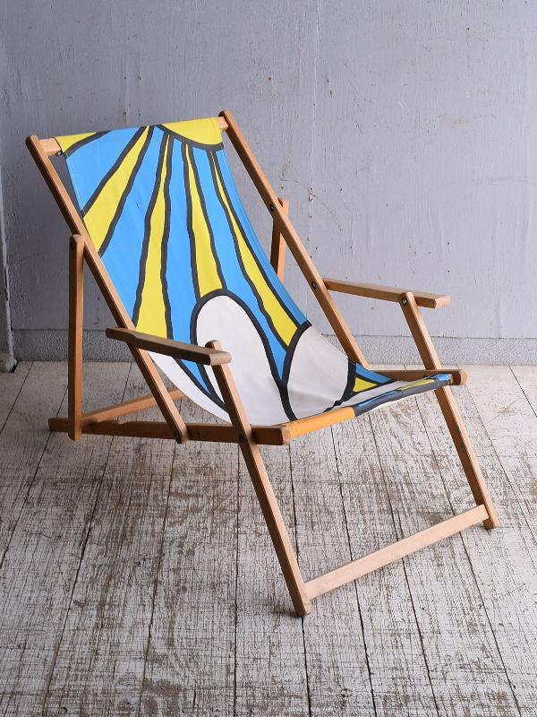 イギリス アンティーク フォールディングデッキチェア 椅子 9275