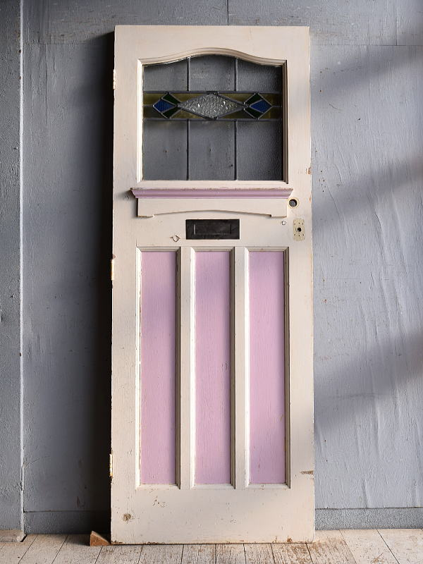イギリス アンティーク ステンドグラス入り木製ドア 扉 建具 9356