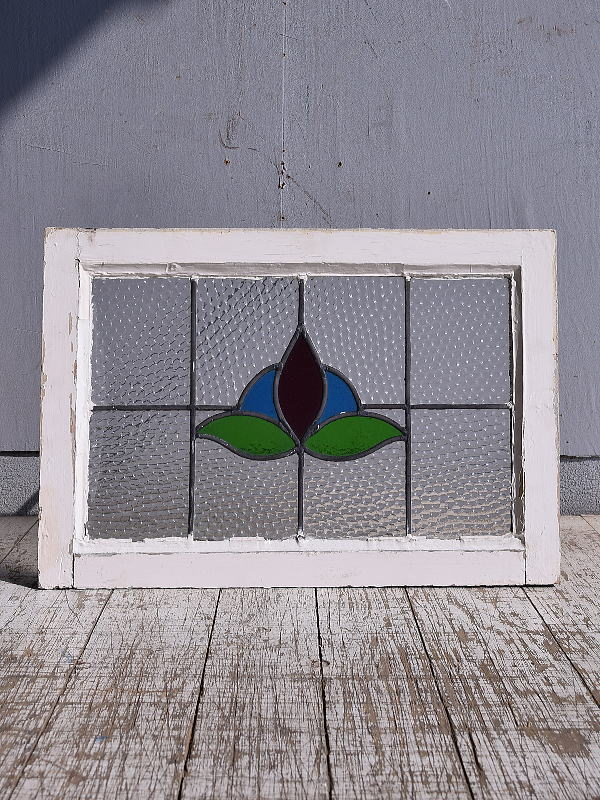 イギリス アンティーク ステンドグラス 幾何学 9382