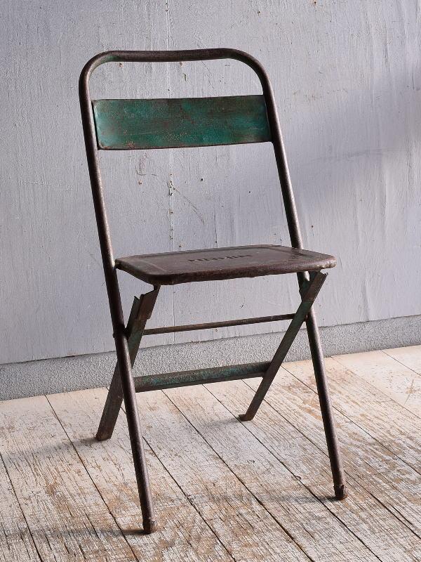 フレンチ アンティーク フォールディング アイアンチェア 椅子 9404