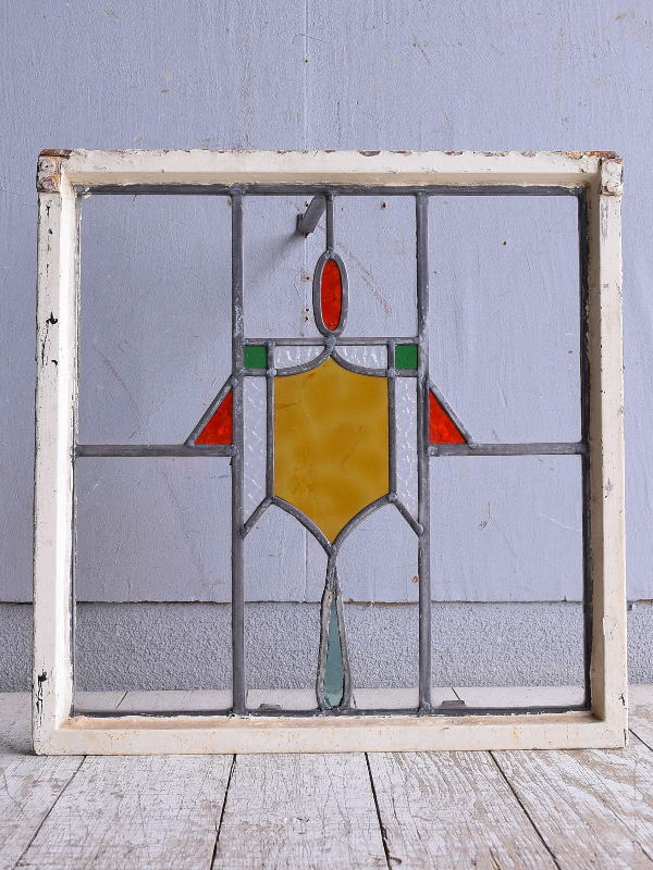 イギリス アンティーク ステンドグラス 幾何学 9438