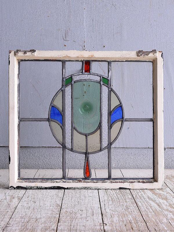 イギリス アンティーク ステンドグラス 幾何学 9439