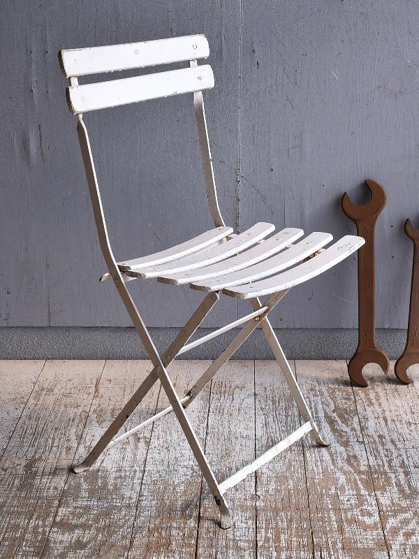 フレンチ アンティーク フォールディング ガーデンチェア 椅子 9483