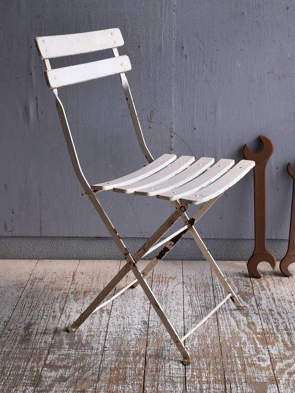 フレンチ アンティーク フォールディング ガーデンチェア 椅子 9484