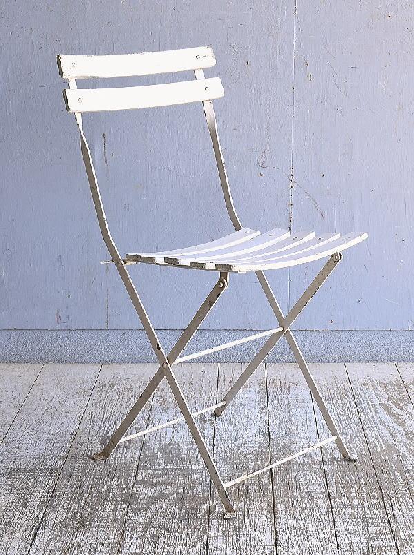 フレンチ アンティーク フォールディング ガーデンチェア 椅子 9490