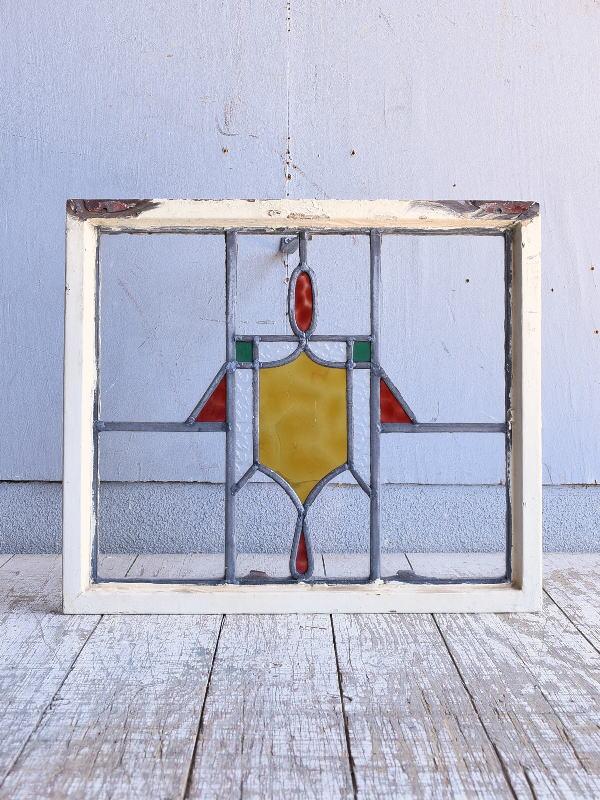 イギリス アンティーク ステンドグラス 幾何学 9553