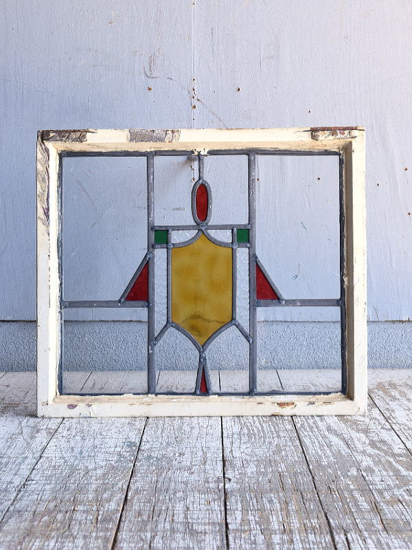 イギリス アンティーク ステンドグラス 幾何学 9554