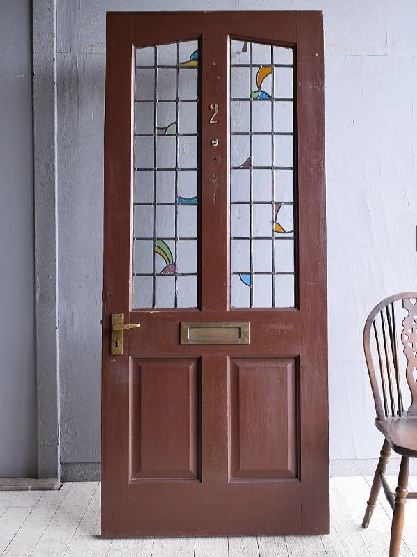 イギリス アンティーク ステンドグラス入り木製ドア 扉 建具 9635