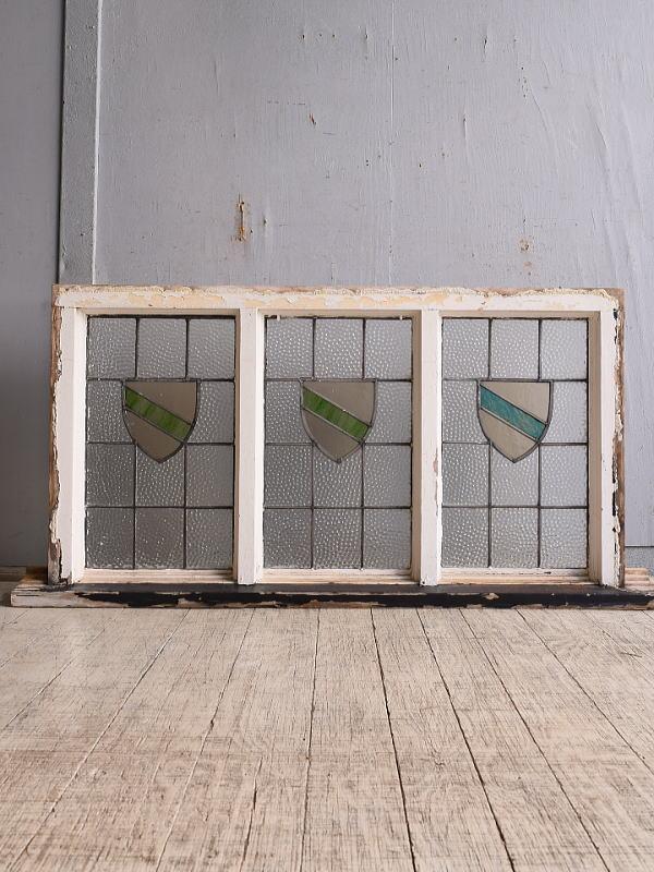 イギリス アンティーク ステンドグラス 幾何学 9747