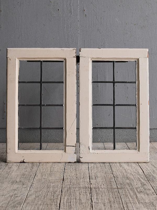 イギリス アンティーク 窓×2 無色透明 9755