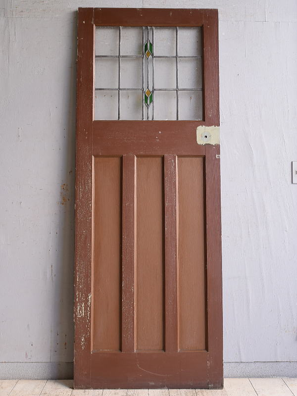 イギリス アンティーク ステンドグラス入り木製ドア 扉 建具 9781