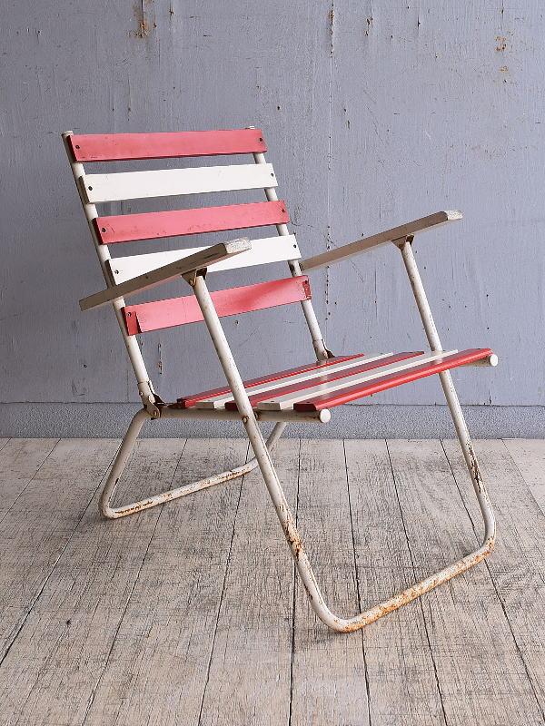 フレンチ アンティーク フォールディングデッキチェア 椅子 9796