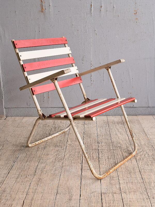 フレンチ アンティーク フォールディングデッキチェア 椅子 9797