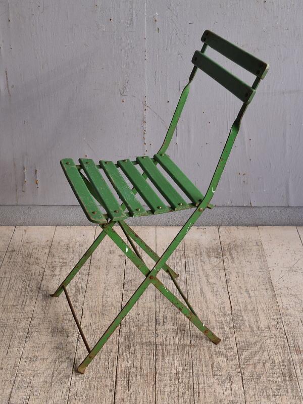 フレンチ アンティーク フォールディング ガーデンチェア 椅子 9803