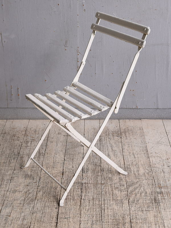 フレンチ アンティーク フォールディング ガーデンチェア 椅子 9823