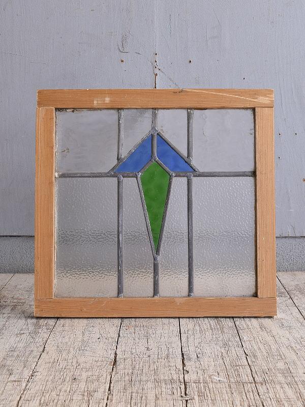 イギリス アンティーク ステンドグラス 幾何学 9864