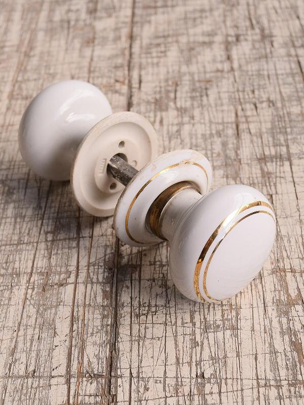 イギリス 陶器製 ドアノブ 建具金物 握り玉 9940