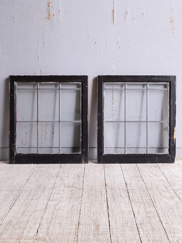 イギリス アンティーク 窓×2 無色透明 9953