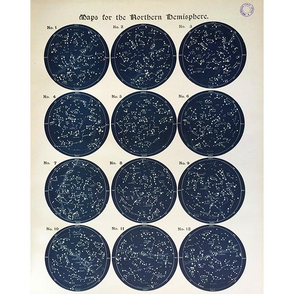 アンティーク星座チャート北半球(天文学)ウィリアム・ペック著0036