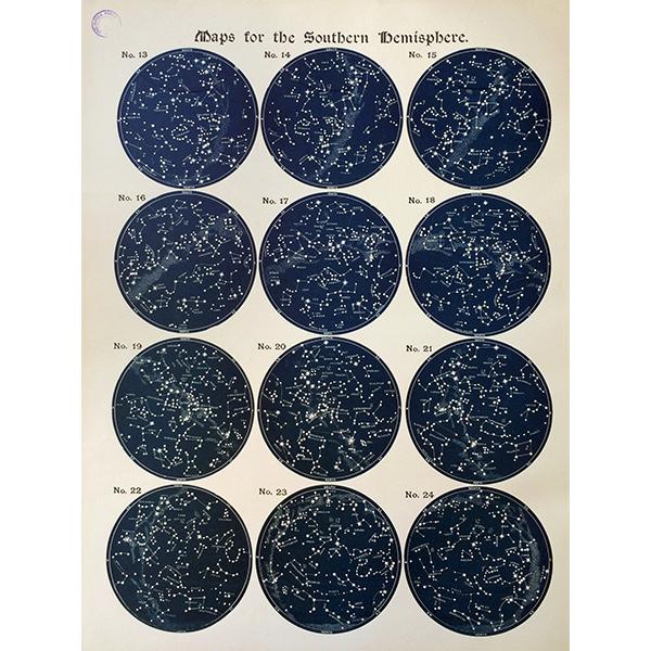アンティーク星座チャート南半球(天文学)ウィリアム・ペック著0037