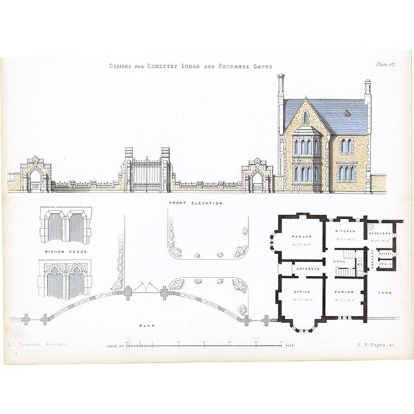 アンティークプリント 建築設計図 Cemetery Lodge
